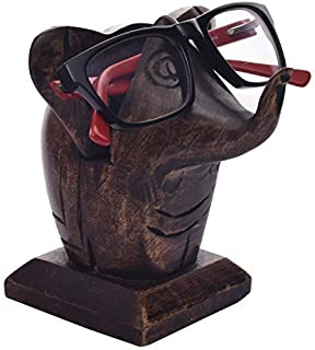 Father's Day Gifts Wooden Eyeglass Spectacle Holder Handmade Nose Shaped Stand for Office Desk Home Decor Gifts (Elephant)