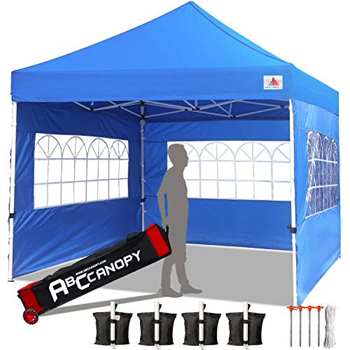 ABCCANOPY Tents Canopy Tent 10 x 10 Pop Up Canopies Commercial Tents Market stall with 3 Removable Sidewalls and 1 Door Wall Bonus 4 Weight Bags, 4 Stakes and Upgrade Roller Bag, Royal Blue
