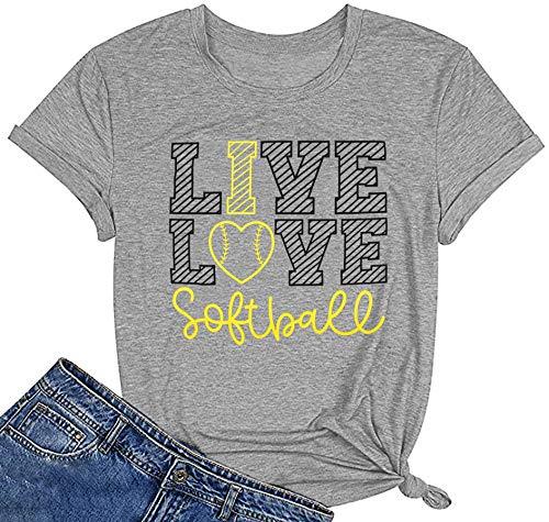 Softball Mom T Shirt Women Funny Baseball Mom Shirt Short Sleeve Top Graphic Tees Teen Girls Casual Top(XX-Large,Gray)