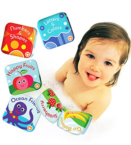 BabyBibi Floating Baby Bath Books. Kids Learning Bath Toys. Waterproof Bathtime...