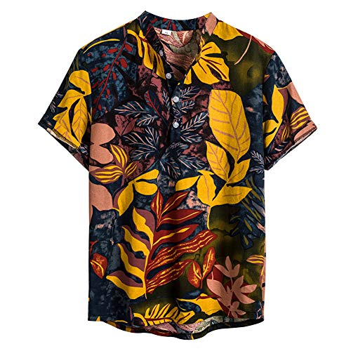 NEWISTAR Camicia in Lino Uomo Vintage Etnico Henley Shirt Maniche Corte Estate Casual Hawaiana Maglietta