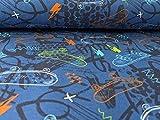 Jersey, bunte Skateboards auf Royalblau als Meteware zum
