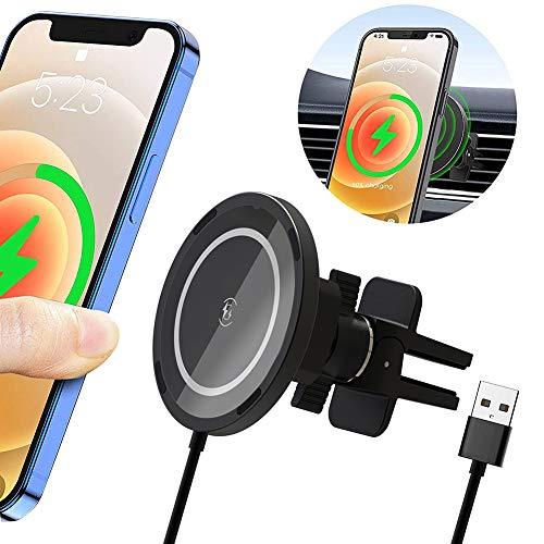 15W Cargador de Coche Inalámbrico Magnético, Soporte Movil Coche, Soporte de Carga para Coche MagSafe-Compatible con iPhone 12/12 Pro/12 mini/12 Pro MAX