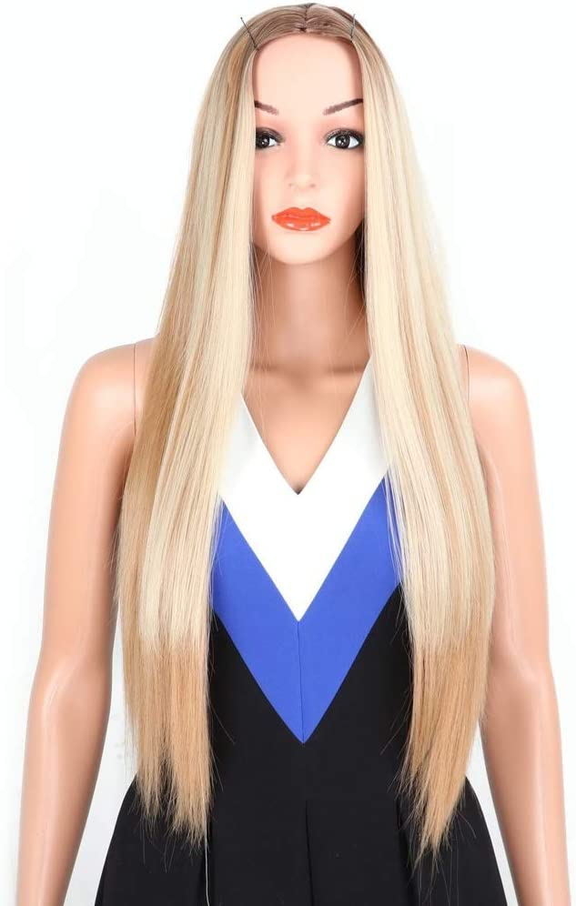 wig ZLZ Gold Gradient Long Straight Fashion Large discharge sale Breathab Ladies Hair Max 44% OFF