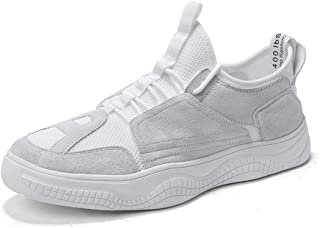 ZUAN Gymnastic Shoes for Men Casual Sport Shoes Lace Up Style Splicing Mesh Fabric Breathable Turn Toe Lightweight