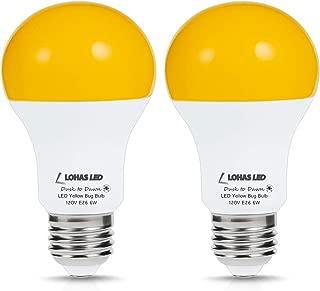 LOHAS LED Dusk to Dawn Yellow Bug Light Bulbs, A19 Bug Porch Lights 40Watt Equivalent, Amber Yellow Light with Automatic Sensor Light, E26 Base LED Auto on/off for Porch Yard Hallway Lighting, 2Pack