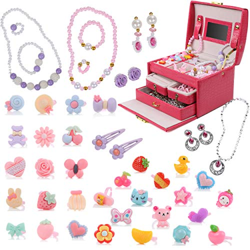 DRESS 2 PLAY Princess Jewelry Box for Girls Pretend Play and Dress Up Little Girls 34 Piece Jewelry Set and Accessories Playset with Jewelry Box, Rings, Bracelets, Necklaces, and More