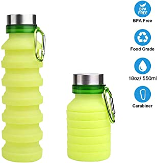 TEMEAYE Collapsible Water Bottle 18oz with Carabiner, Reuseable BPA Free Silicone, FDA Approved, Foldable and Portable for Sports, Gym, Travel, Camping, Hiking, Leak Proof, 100% Non-Toxic Materials