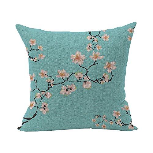 Dantazz - Funda de cojín vintage - 45 x 45 cm Retro Algodón Lino Cintura Funda de almohada Home Sofá Decoración Flores y plantas (A)