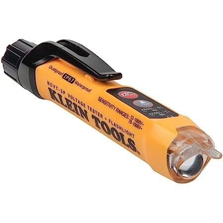 Klein Tools NCVT3P Dual Range Non Contact Voltage Tester, 12-1000V AC Pen, Flashlight, Audible and Flashing LED Alarms, Pocket Clip