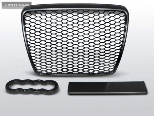 RS6 Honey comb Front Grill voor A6 C6 4F 04-11 BLACK MATT Facelift