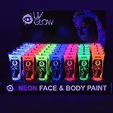 Pintura Corporal y Facial 10ml UV GLOW Conjunto De 24 Tubos Neón Fluorescente incandescen...