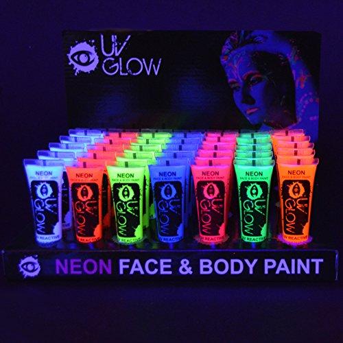 UV Glow Lot de 240 tubes de peinture fluorescente pour le visage et le corps 240 x 10 ml