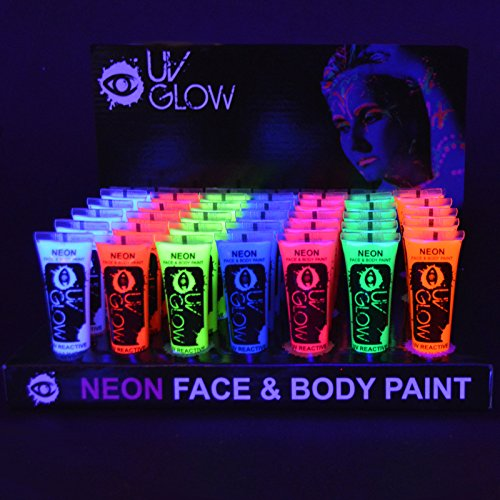 24x UV Glow 10ml Vernice Fluorescente Pelle Viso Corpo Colore UV -...