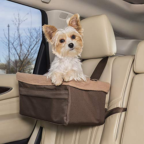 PetSafe Happy Ride Booster Seat - Dog Booster Seat for Cars, Trucks and SUVs - Easy to Adjust Strap - Durable Fleece Liner is Machine Washable and Easy to Clean - Medium, Brown Florida