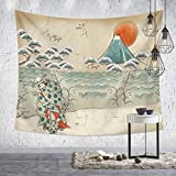 mmzki Japanische ukiyoe hängen Tuch Sonnenaufgang kran kran Kaninchen wandteppich Retro Dekoration Wohnzimmer Schlafzimmer b2-20 230 * 150