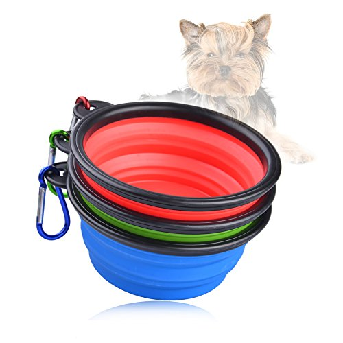 Uarter Dog Bowls Collapsible Travel Pet Food & Water Bowls Food Grade Silicone Dog Food Bag 3pcs/Set