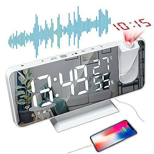 Furado Despertador Proyector,Despertador Digital LED con Superficie de Espejo,Radio FM,con Temperatura Relojes de Alarma Proyección Alarma Dual,con Proyección de 180° Giratorio,para Casa y Oficina
