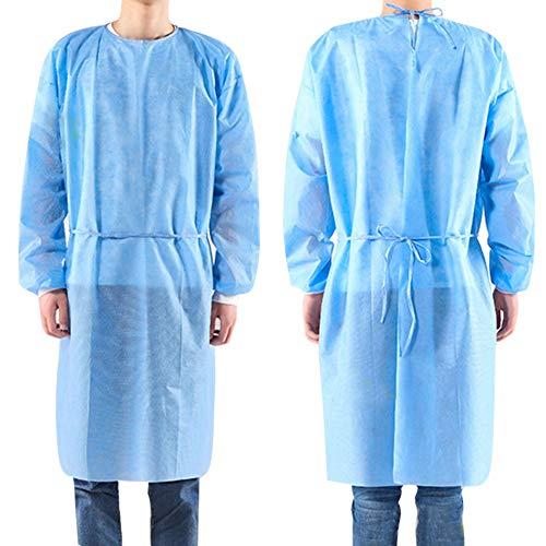 10 abiti isolanti PCS, abiti monouso per adulti, maniche lunghe, abiti protettivi per collo e cintura. Servizio di esame non sterile. Polipropilene Spunbond. Senza lattice Abito blu
