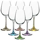 VANILLA SEASON Bohemia Crystal - Juego de 6 vasos de vino blanco de colores, perfectos para fiestas NUKUALOFA