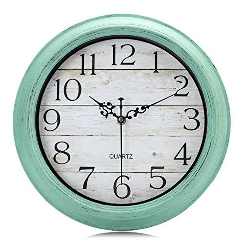 Lafocuse Relojes de Pared Shabby Chic Turquesa Grano de Madera Reloj de Cuarzo Rustico Silencioso para Cocina Salon Dormitorio Infantil 30cm