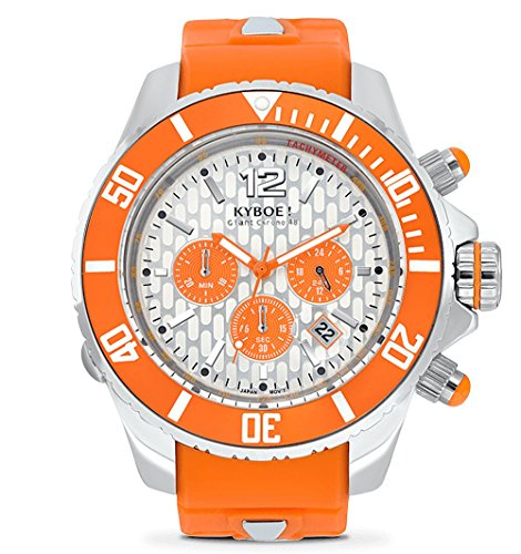 KYBOE! Reloj de Cuarzo de Acero Inoxidable y Silicona (Modelo: Chronos Silver Explorer)