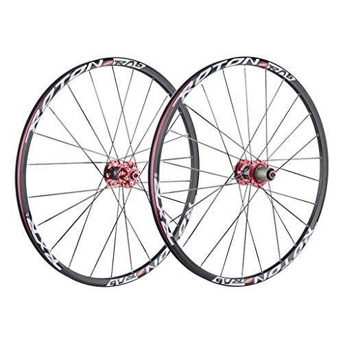 CHICTI Ruedas De Bicicleta 26 Pulgadas, Ciclismo Wheels Pared Doble Lanzamiento Rápido V-Brake MTB Borde Rodamientos Sellados 24 Hoyos 8/8/9/10 Velocidad Deportes (Color : A, Size : 27.5inch)