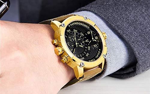 Voigoo Kreative großer Zifferblatt-Design All Zifferblätter Arbeit Leder-Mann-Geschäft Uhr Dual-Quarz-wasserdichte Sport-Armbanduhr
