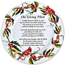 Image: Set of 4 Christmas Metal Tin Giving Plate with Poem 13 inch Diameter for Friendship Plates for Friends and Family Holiday Sharing Cookie Serving Platters Winterberry Cardinal Design by Gift Boutique