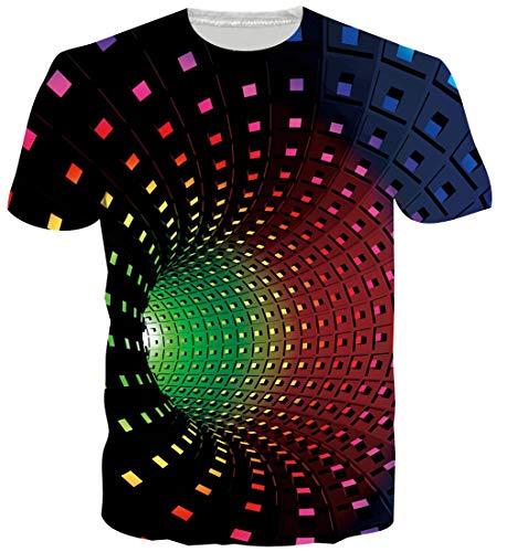 ALISISTER Neuheit T Shirts Herren Damen 3D Swirl Muster Sommer Rundhals Kurzarm T Shirts Wear Tops Bunt XL