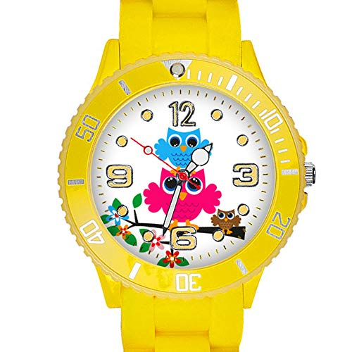 Taffstyle Kinder Armbanduhr Silikon Sportuhr Bunte Sport Uhr mit Blumen Eulen Familie Motiv Analog Quartz Small 39 mm Gelb