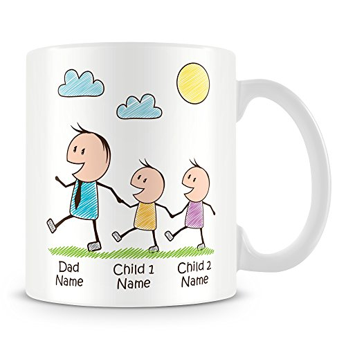 Daddy Mug with 2 Kids - Personalise with Names - Gift for Dads