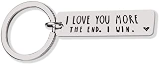 Boyfriend Girlfriend Funny Couple Gifts for Him and Her Keychain Dog Tag I Love You More The End I Win Keychain Gift for Birthday Valentine's Day Thanksgiving Christams Gift