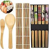 Kit Sushi Bambú Estera Bambu Sushi Estera Rollo Sushi Set Sushi Bambú Para Principiantes y Amantes Sushi Incluye 2 Tapetes Bambú Sushi, 5 Pares De Palillos, 1 Espátula De Arroz, 1 Cuchara De Arroz