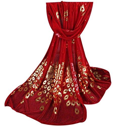 URIBAKY-Blousons - Bufanda para mujer de invierno, encaje bordado de flores de pavo real para la playa, para vacaciones. rojo Talla única