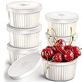 Hatrigo Porcelain Ramekins with Silicone Storage Lids, Set of 6 White Ramekins, 10 oz Oven Safe to 450 deg F, Dishwasher Safe
