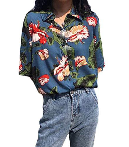 Joint Go 夏 レディース シャツ ブラウス アロハシャツ ハワイシャツ 日焼け止め服 五分袖 半袖 花柄 プリント 薄手 ゆったり ビーチ 浜辺 リゾート (ブルー)
