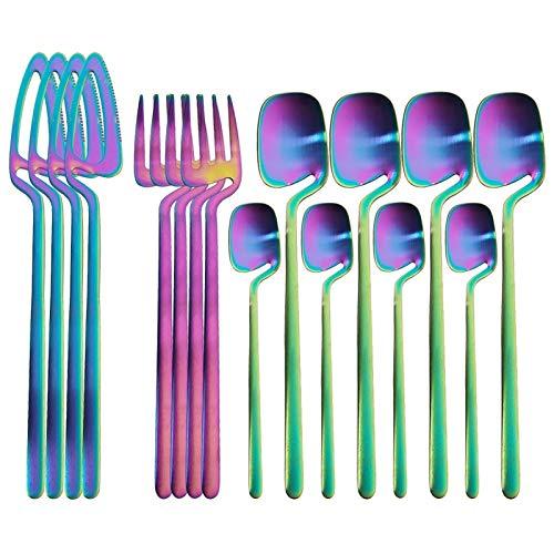 16 PCS Sistema de vajilla mate de acero inoxidable Conjunto de cubiertos CUCHILLO CUCHILLA CUCHILLA CAFE TEA CAPA CUCHILLA DE TEA DE TEAJE CONJUNTO DE CAPAJE DE CAPIA (Color : Rainbow)