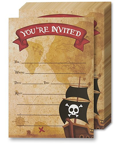 Pirate Birthday Party Invitations (Pack of 24)