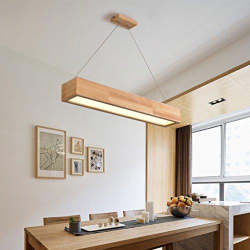 Luminaires suspendus Restaurant en bois Lustre Bar Simple LED Balançoire Lumière En Bois Salle à Manger Bureau Rectangulaire Commerciale Pendentif Lumière (Color : Small-White)
