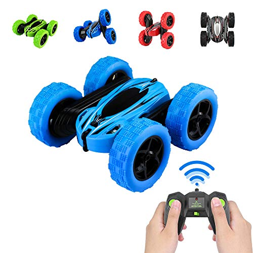 Pup Go Remote Control Stunt Car, 4X4 Rock Crawler 360 Spins Flips Rechargeable Fast Offroad, RC Radio Controlled Buggy Racing Cars, Best Gifts Present Toys for Boys Kids Age 5 6 7 8 9 Year Old (Blue)