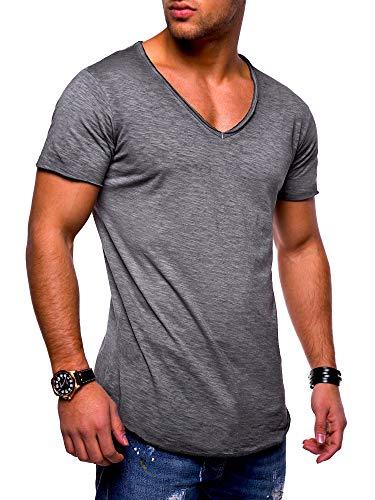 behype. Herren Kurzarm Basic T-Shirt V-Neck Ausschnitt Oversize-Look 20-0002 Dunkelgrau L