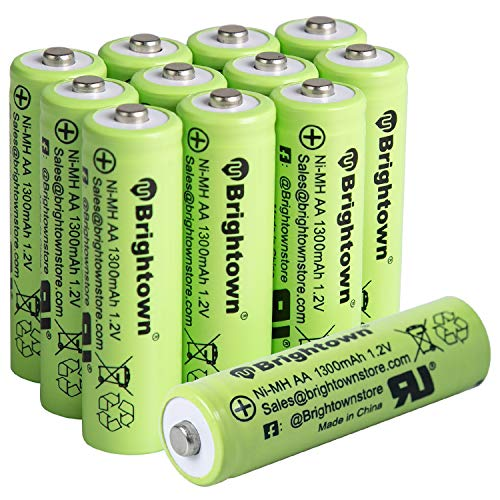 NiMH Rechargeable AA Battery Pack of 12 High Capacity 1300mAh 12v PreCharged Double A Battery for Solar Lights Battery String Lights TV Remotes Wireless Mouses Radio Flashlight