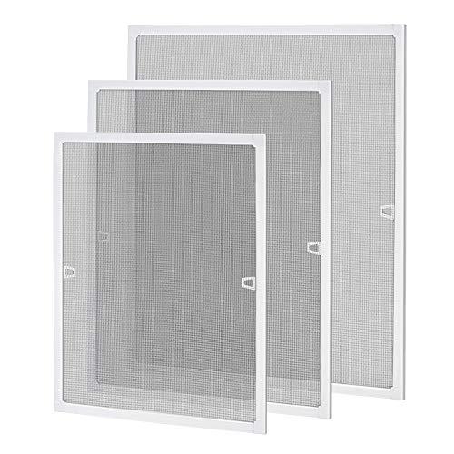 LZQ Fliegengitter Fenster Insektenschutz Fliegenschutzgitter mückengitter moskitonetz gitter mit Aluminium Rahmen ohne Bohren und Schrauben 80 × 100 cm Weiß
