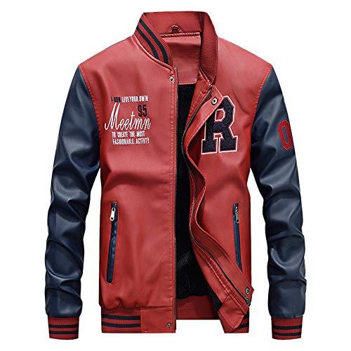 Celucke Herren Collegejacke Baseballjacken aus Kunstleder,Winterjacke Lederjack Warm Varsity Jacket