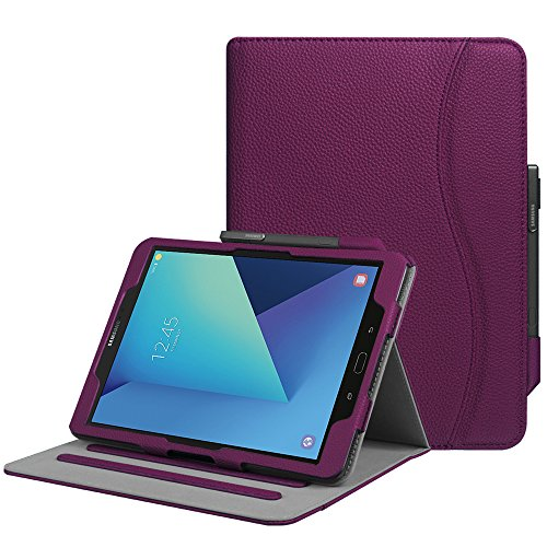 FINTIE Case for Samsung Galaxy Tab S3 9.7-Inch Tablet (SM-T820/T825) - [Corner Protection] Multi-Angle Viewing Stand Cover with Protective S Pen Holder Card Pocket Auto Sleep/Wake, Purple