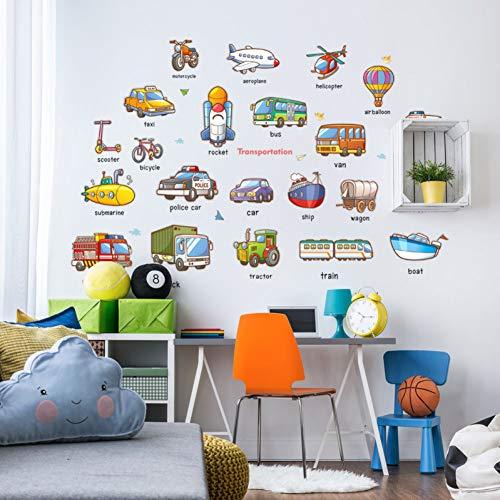 TYOLOMZ Cartoon Vervoer Vliegtuig Trein Bus Schip Verkeer Gereedschap Muurstickers Home Decoratie Kids Kamer Vinyl Mural Art Nusery Decals