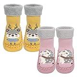Calcetines Antideslizantes Para Bebés Algodón Grueso y Cálido Bonitos Calcetines Deportivos Para Niños y Niñas Calcetines para Niños Pequeños Adecuados para 6-12 Meses, 2 pares