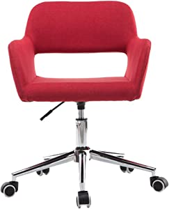 ZHJBD Furniture Stool Comfortable Reception Chairs Office Chair Mid Back Swivel Lumbar Support Desk Chair  Ergonomic Office Chair  Flexible Swivel Task Chair  130kg Load Capacity