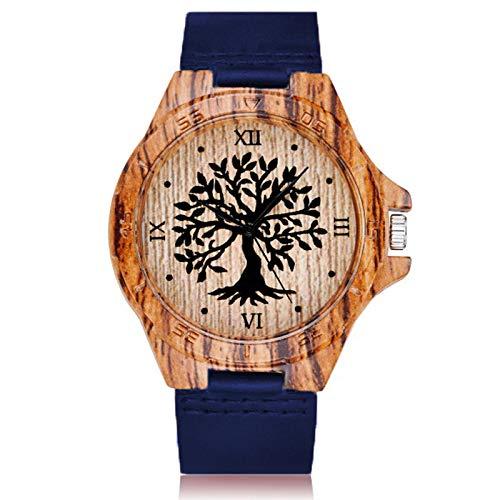 Reloj de Madera de imitación de árbol de la Vida Creativa para Hombres y Mujeres, Reloj de Cuarzo de imitación de Madera, Reloj de Pulsera de Cuero Suave para Hombre, imitación de madera1